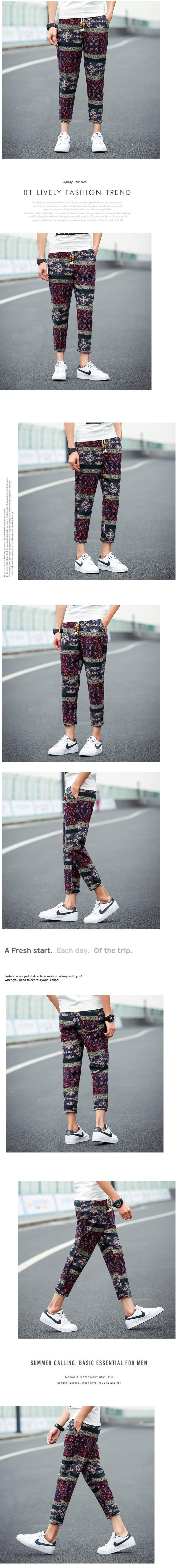 รองเท้าชาย  กางเกงขายาวลายย้อนยุคแฟชั่น