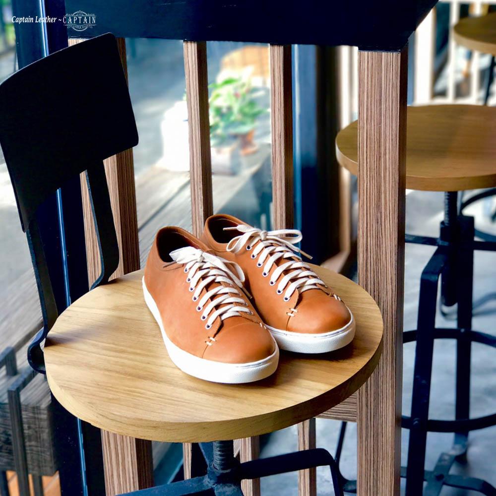 รองเท้าสนีกเกอร์หนัง รองเท้าหนัง Combo - สี Orange Brown - CAPTAIN LEATHER