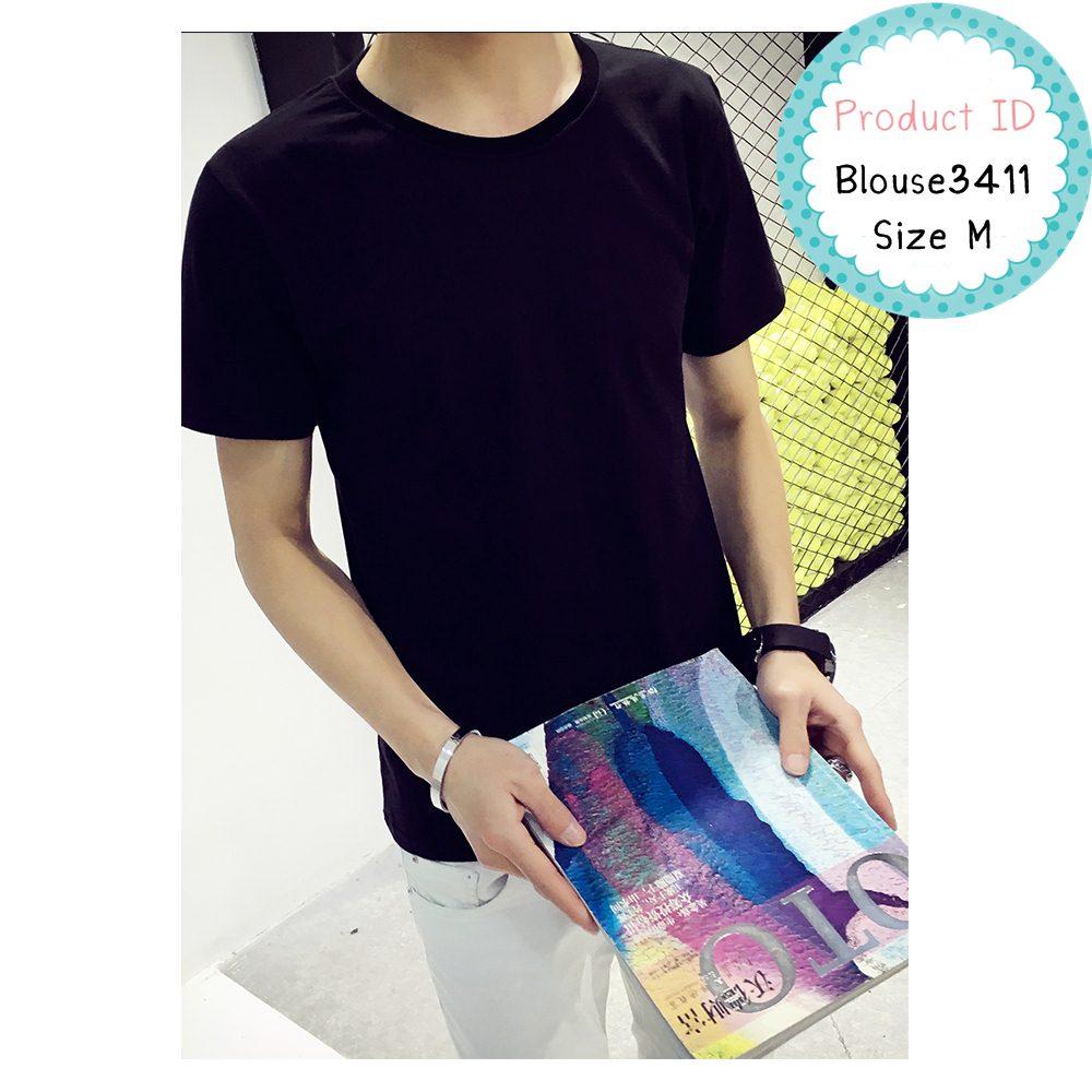 blouse3411 เสื้อยืดสีดำผ้า Cotton แขนสั้น ผ้าเนื้อดีนิ่มใส่สบาย Size M
