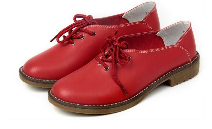 รองเท้าหุ้มส้น ผู้หญิง รองเท้าหนังแท้ สไตล์ oxford รองเท้าผู้หญิง หุ้มส้น สีแดง แบบเรียบ ๆ มีสไตล์ รองเท้าหนังผู้หญิง แบบ เท่ ๆ 909981_2