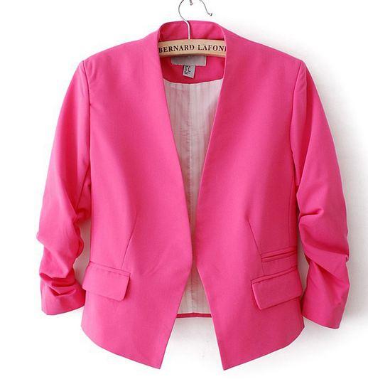 เสื้อสูทผู้หญิง ใส่สมัครงาน ทำงาน ออฟฟิต เสื้อสูท แบบ ตัวสั้น สีชมเข้ม กุหลาบ เสื้อคลุม แบบสูท ใส่ออกงาน แบบสุภาพ ใส่ในออฟฟิต ราคาถูก 171361_3