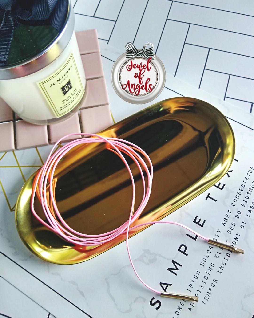 สร้อยคอแฟชั่นChokerสไตล์เกาหลีเชือกยาวเส้นเล็กสีชมพู