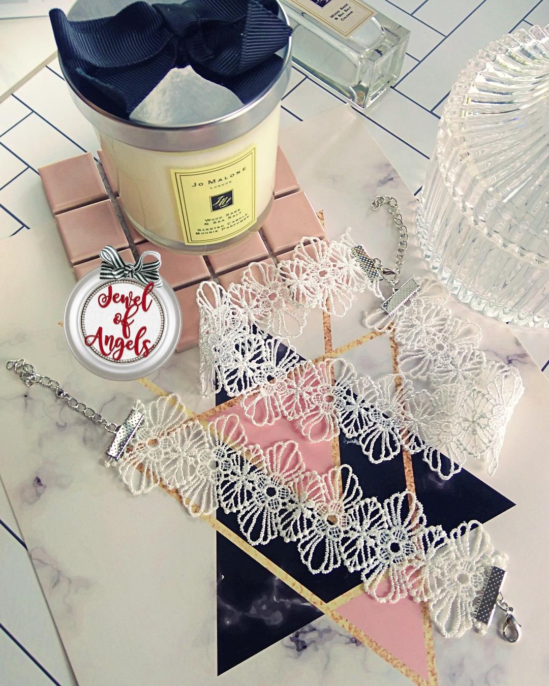 สร้อยคอแฟชั่นสไตล์เกาหลีSETสร้อยChokerลูกไม้สีขาวพร้อมสร้อยข้อมือ