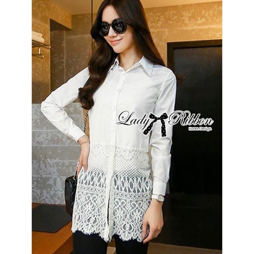 Lady Ribbon เดรสเชิ้ตชายลูกไม้ Lady Vanessa Classic Insert Lace Shirt Dress in White
