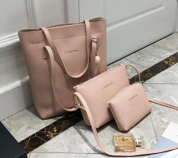 สุดคุ้ม ซื้อ 1 ได้ถึง 3 กระเป๋าสะพายหนังทรงสวย + กระเป๋าใบเล็กอีก 2 ใบ สีชมพู พร้อมส่ง