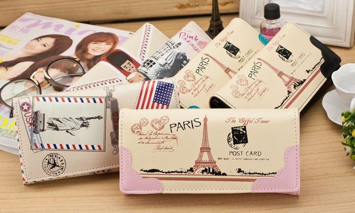 กระเป๋าสตางค์ผู้หญิง เพ้นท์ลาย กรุงปารีส สไตล์ยุโรป กระเป๋าสตางค์ใบยาว สีสันสดใส ใส่บัตรได้เยอะ ใส่เหรียญได้ กระเป๋าสตางค์ราคาถูก no 713479