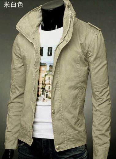 เสื้อกันหนาวผู้ชาย เสื้อคลุมผู้ชายแขนยาว สไตล์ แจ็คเก็ตยีนส์ สไตล์ คาวบอย Jacket สีเบจ สีครีม แบบเท่ ราคาถูก no 387798_4