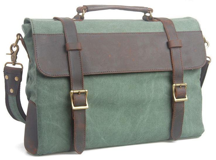 กระเป๋าสะพายข้าง ผู้ชาย หนังแท้ ผ้ายีนส์ แบบสวย ไฮโซ กระเป๋าใบใหญ่ ใส่ notebook ได้ สีเขียว ราคาพิเศษ no 97646_1