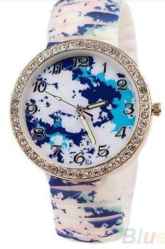 นาฬิกาข้อมือผู้หญิง นาฬิกาแฟชั่น สำหรับคนชอบสะสม นาฬิกาข้อมือ สาย Silicone อย่างดี หน้าปัด ล้อมเพชร คริสตัล สีฟ้า ลายดอกไม้ หน้าหนาว 829094_3