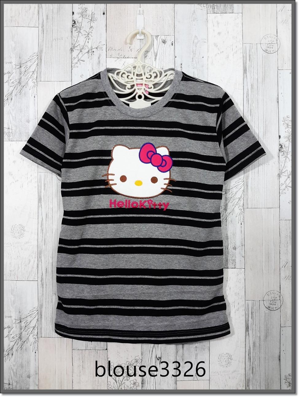 blouse3326 เสื้อยืดแฟชั่น แต่งหน้าคิตตี้ ผ้าโปโลยืดเนื้อนิ่มลายริ้วเล็ก-ใหญ่ สีเทาดำ