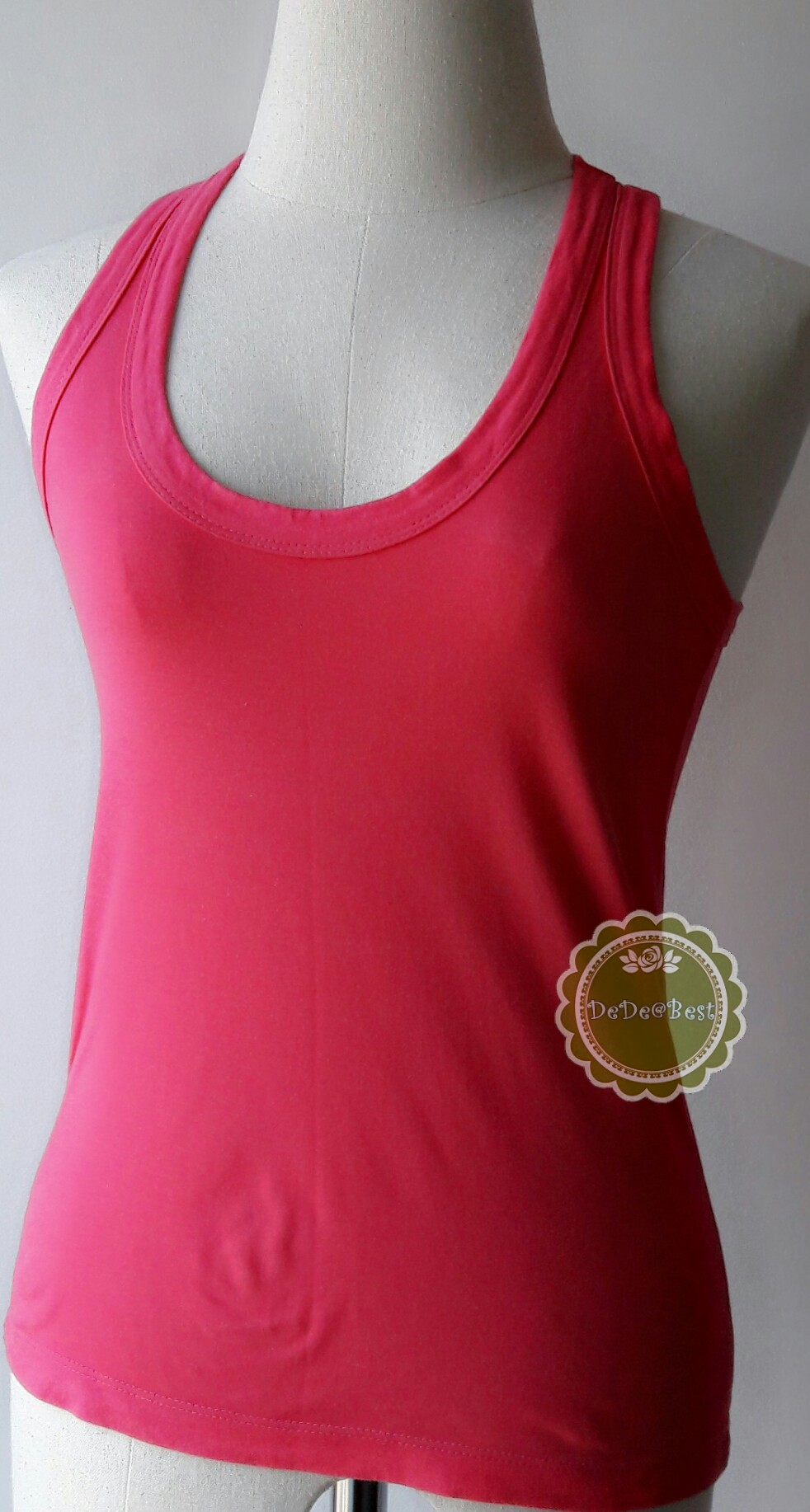 T90:2nd hand top เสื้อกล้ามสีชมพูสดใส
