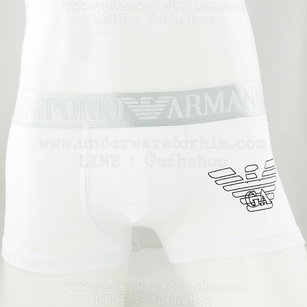 กางเกงในชาย Emporio Armani Boxer Briefs : สีขาว ขอบเงิน EA