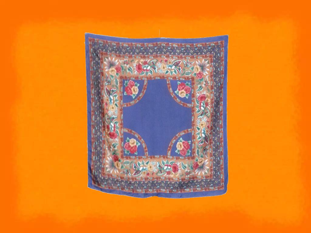 SC8:Vintage scarf ผ้าพันคอ ผ้าคลุมไหล่ โทนสีน้ำเงิน ลายดอกไม้