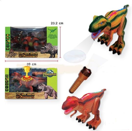 ไดโนเสาร์เมกะโลซอรัสมีไฟมีเสียง ฉายภาพได้ แถมถ่าน มีสีน้ำตาล สีเขียว