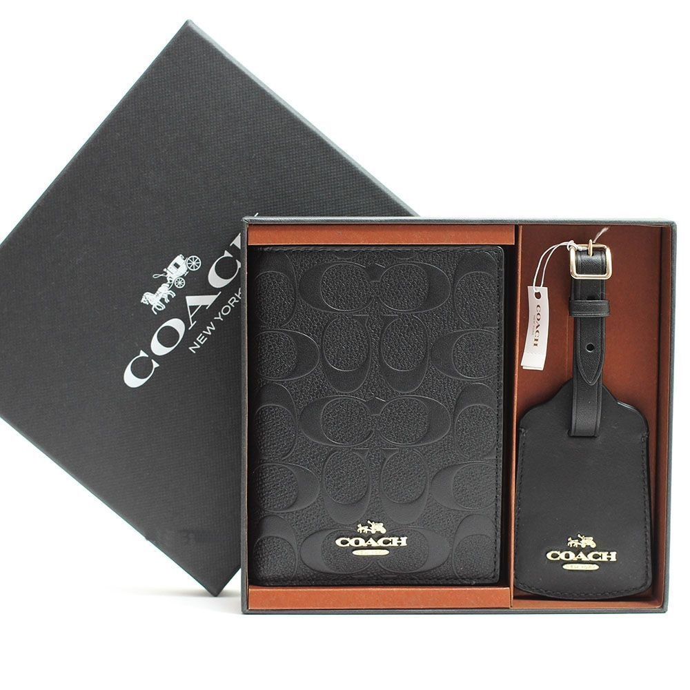 Coach Passport Case With Leather Luggage Tag Travel Gift Box Set F65545