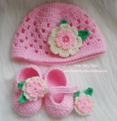 ชุดหมวกและรองเท้าคัทชูดอกไม้ 2 ชั้น