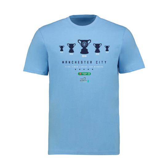เสื้อทีเชิ้ตแมนเชสเตอร์ ซิตี้แชมป์คาราบาวคัพ 2018 Carabao Cup Winners T Shirt สีฟ้าของแท้