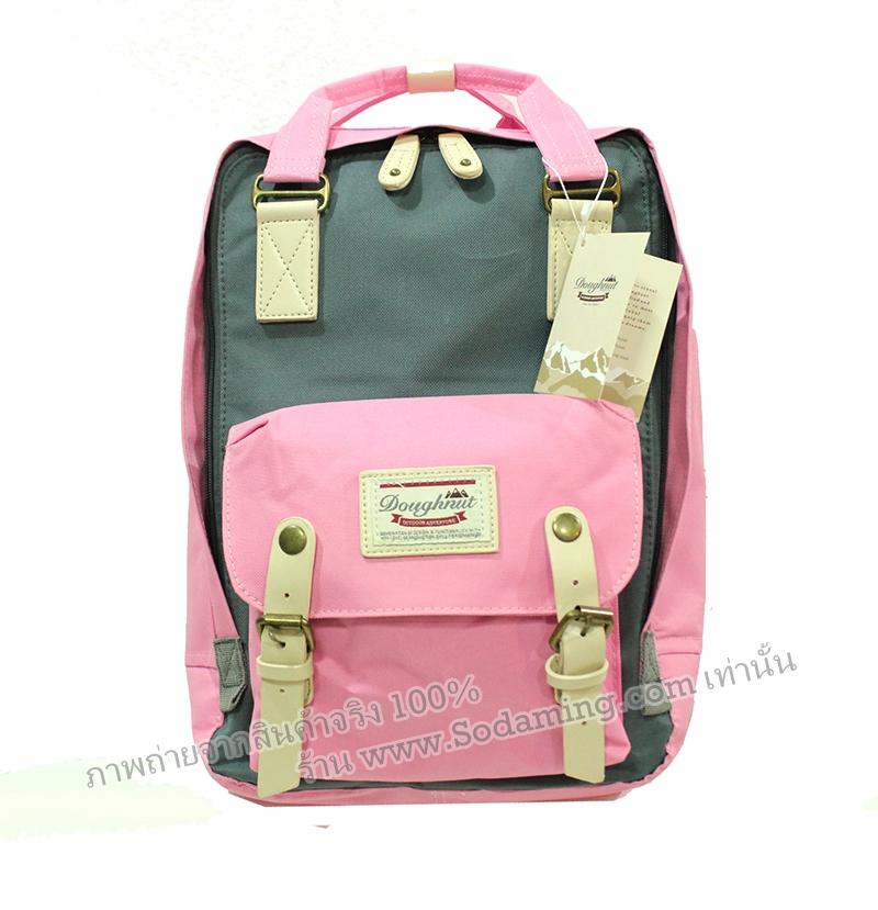 [ พร้อมส่ง ] - กระเป๋าเป้ Doughnut Macaroon Hong Kong canvas backpack #PINK X GREY