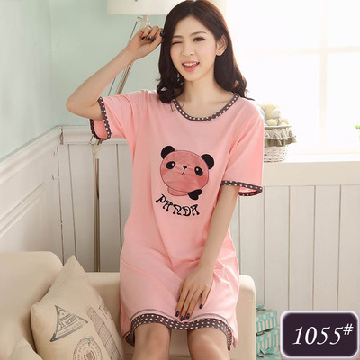 ชุดนอนกระโปรงผ้าฝ้ายสีโอลด์โรสลายน้องหมีแพนด้าสุดน่ารัก (M,L,XL,2XL,3XL,4XL) #1055