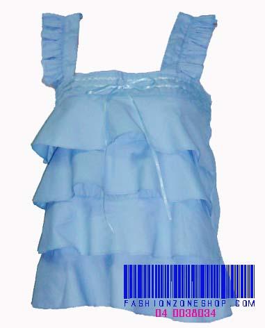 FZS0142 SKY ใหม่! เสื้อผ้าคอตตอน บ่าเดี่ยว ระบายเป็นชั้น ซิบข้าง ดีไซน์สวยสีฟ้า
