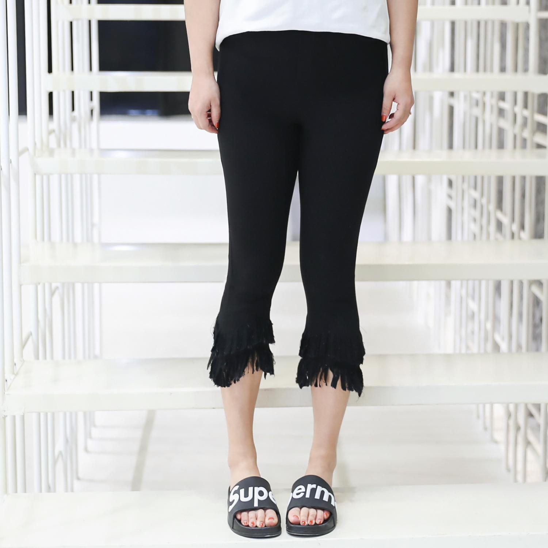 กางเกงสีดำไซส์ใหญ่ ขาสามส่วน ปลายขารุ่ยซ้อนสองชั้น เอวยางยืด (XL,2XL,3XL,4XL) ZX1098