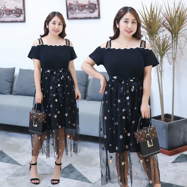 ชุดเดรสไซส์ใหญ่ สีดำ เสื้อเปิดไหล่+กระโปรงสวย (XL,2XL,3XL)