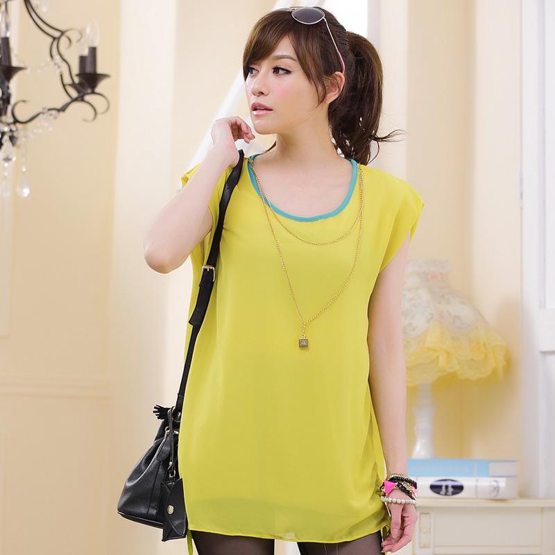 เสื้อชีฟองชายรูด สีเหลือง พร้อมสายสร้อย (XL,2XL,3XL)