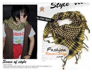 ผ้าพันคอชีมัค Shemash (เนื้อผ้า Viscose) : สีเหลืองดำ CV0012