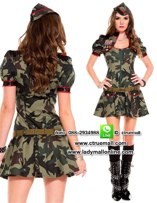 ชุดทหารสาวลายพราง ชุดแฟนซีทหาร ชุดแฟนซีเครื่องแบบ ชุดคอสเพลย์ ชุดแฟนซีสีเขียว