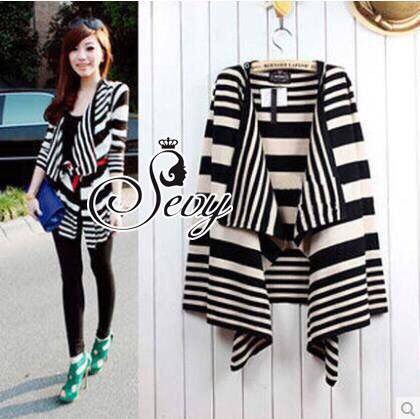 Sevy Korean Knit Striped Cardigan Jacket