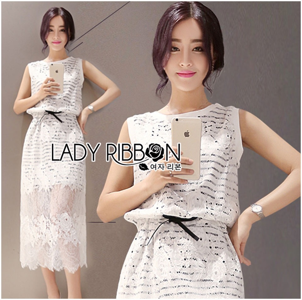 Lady Ribbon's Made Lady Aerin Sweet Striped Jersey and Lace Dress