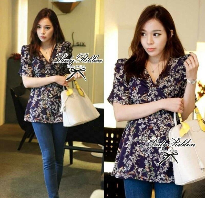 Lady Ribbon's Made Lady Floral Branch V-collar Blouse