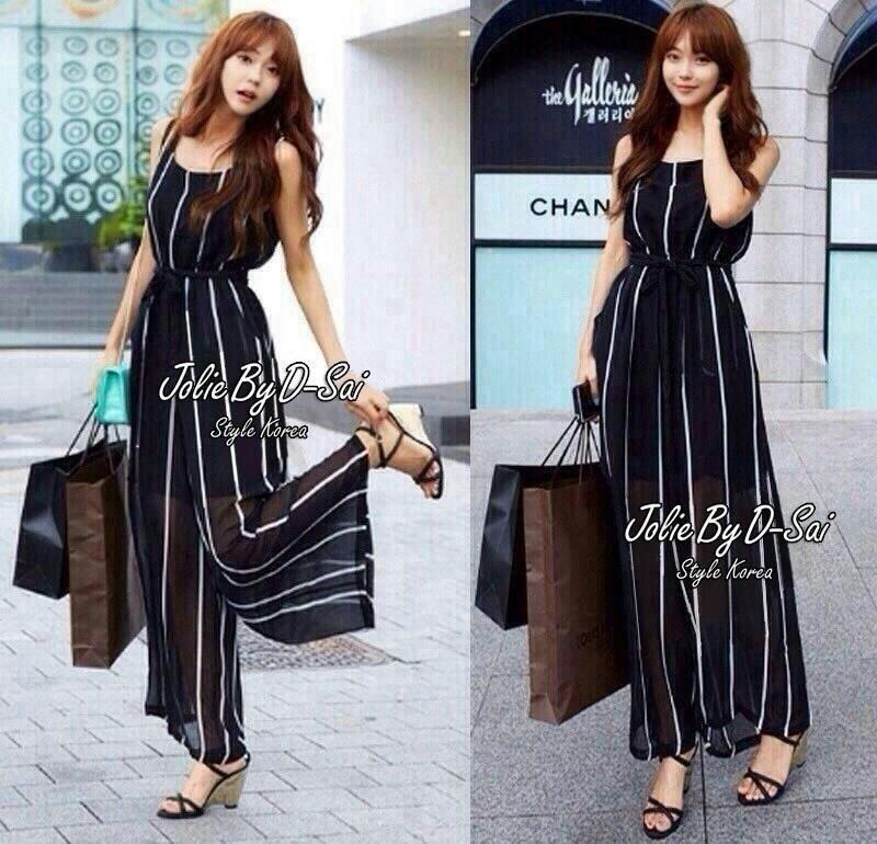 Jolie By D-Sai JumpSuit Chiffon Stripe White & Black Style Korea