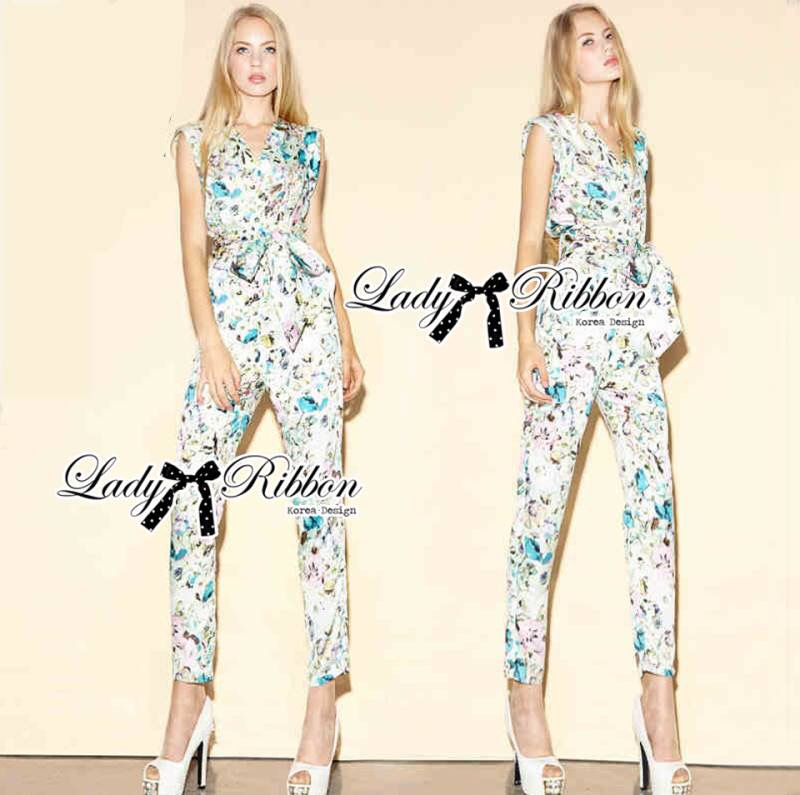 Lady Ribbon's Made Lady Lilly Pastel Floral Printed Sleeveless Jumpsuit