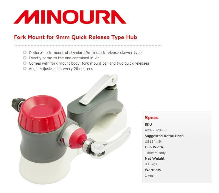 MINOURA : 9mm Quick Fork Mount : Fits standard 9mm quick skewer