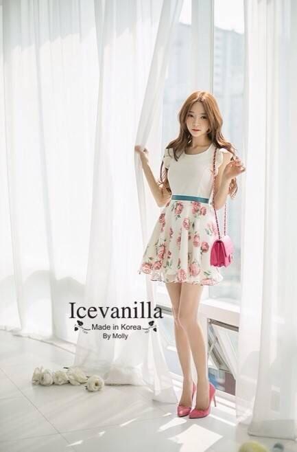 Romantic Blue light Paradise flower Dress