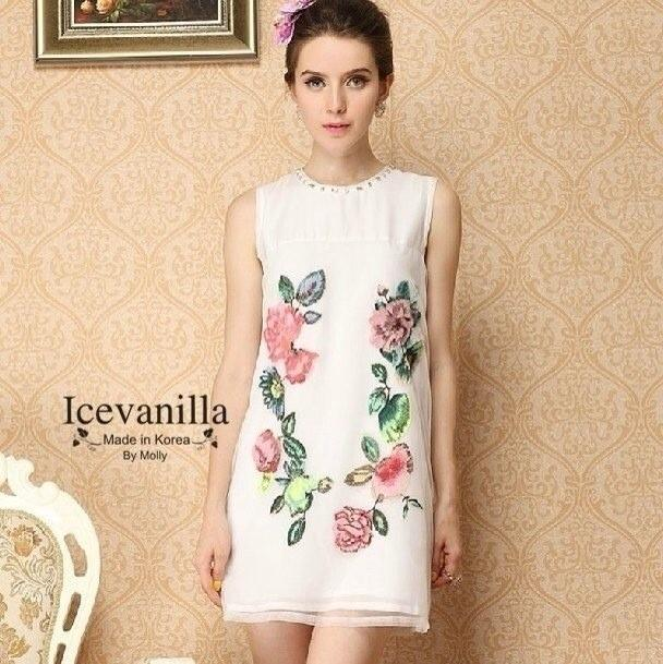floral embellish whit diamonds collar See-through Dress