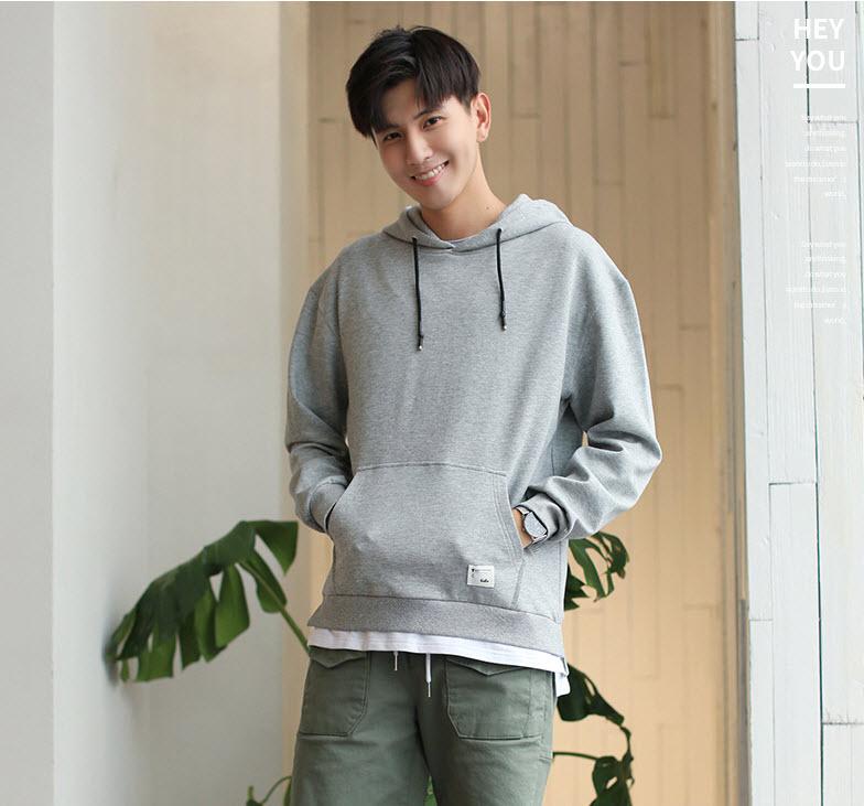 พร้อมส่ง เสื้อฮู้ดผู้ชาย สีเทา เสื้อกันหนาวผู้ชาย ใส่กันหนาว เสื้อกันหนาวสไตล์เกาหลี hoodie