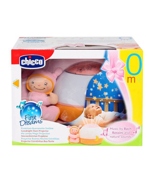 Chicco Goodnight Stars Projector Musical Nursery Toy, 12 cm - Pink ของแท้ ส่งฟรี