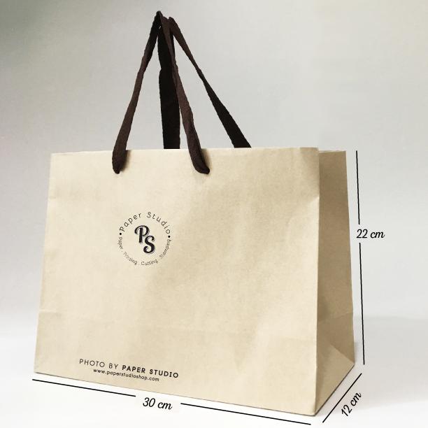 ถุุงชอปปิ้ง กระดาษน้ำตาล เบอร์ 7 ขนาด 30x12x22 ซม. (25 ใบ)