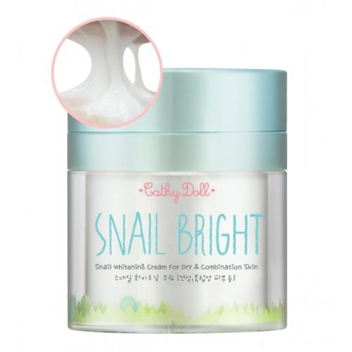 "Snail Whitening Cream 50g Cathy Doll Snail Bright (For Dry & Combination Skin) ครีมหอยใสไล่ดำ"" กระจ่างใสถึงขีดสุด ไร้จุดด่างดำ กับสเนลไวท์เทนนิ่งครีมด้วยสารสกัดจากเมือกหอยทากใสไร้สี Snail Bright เมือกหอยทากบำรุงผิวเข้มข้น"
