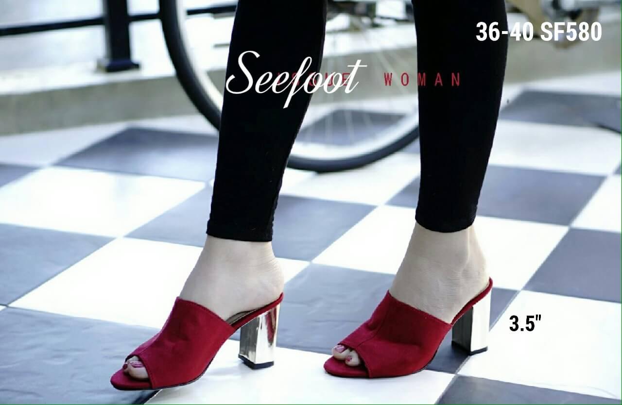 รองเท้าสวย แมกซี่สวมส้นตัน หนังสักหลาดนิ่มมากคะ ส้นหนังกระจกสีทอง สูง3.5นิ้ว