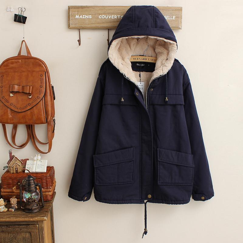 fashion เสื้อกันหนาว ขนแกะ หนานุ่ม สีกรมท่า (รอสินค้า15-20วัน)
