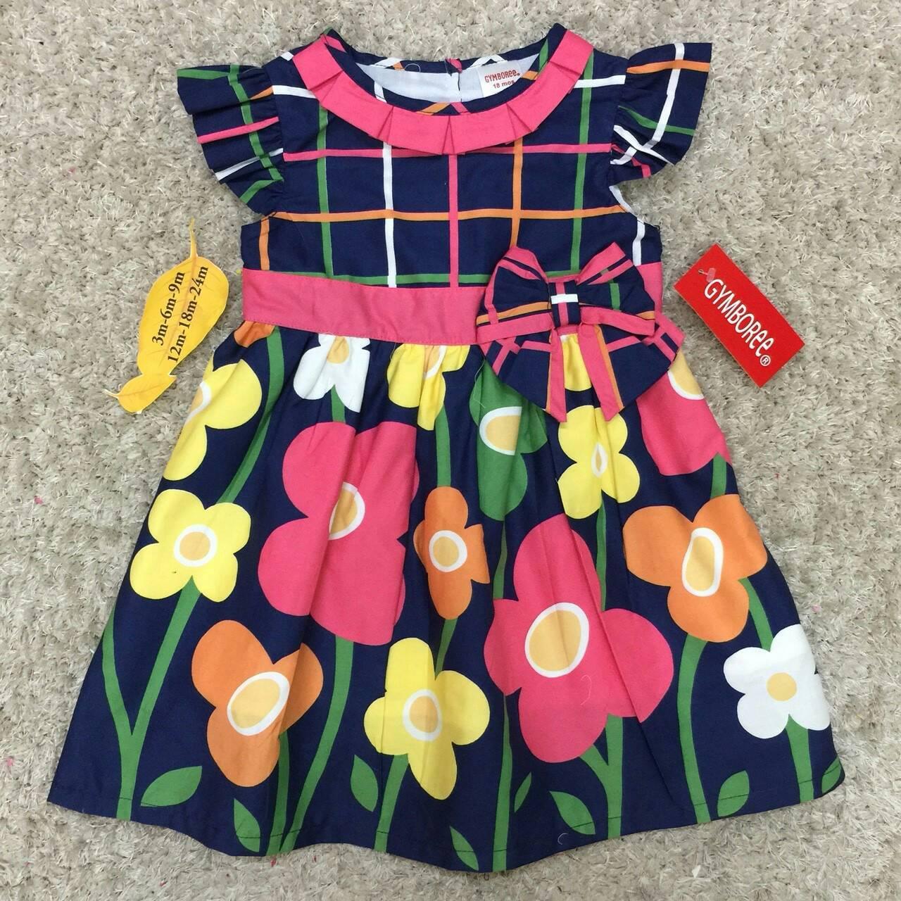 เสื้อผ้าเด็ก 1-2ปี size 12m-18m-24m ลายดอกไม้ พื้นหลังสีกรมท่า