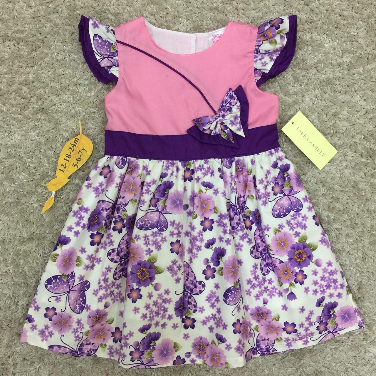 เสื้อผ้าเด็ก 5-7ปี size 5Y-6Y-7Y ลายดอกไม้ แต่งผีเสื้อ สีชมพู/ม่วง
