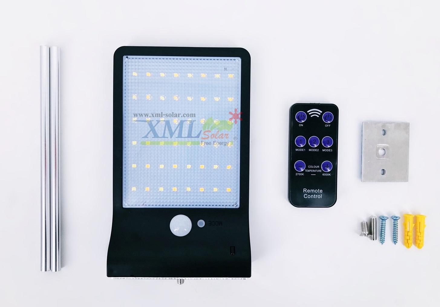 โคมไฟโซล่าเซลล์ ติดผนัง 48 SMD LED + Motion sensor สีดำ (เเสง : ขาว + เหลืองวอมไวท์)