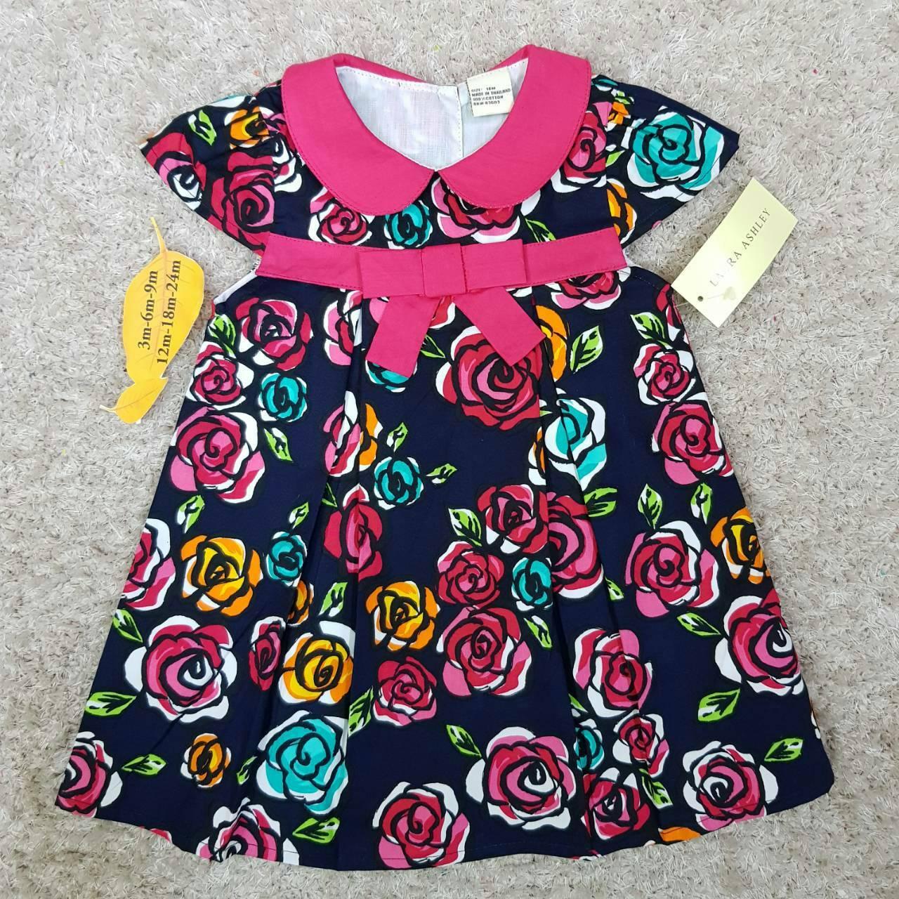 เสื้อผ้าเด็ก 1-2ปี size 12m-18m-24m ลายดอกไม้ คอปกสีชมพู