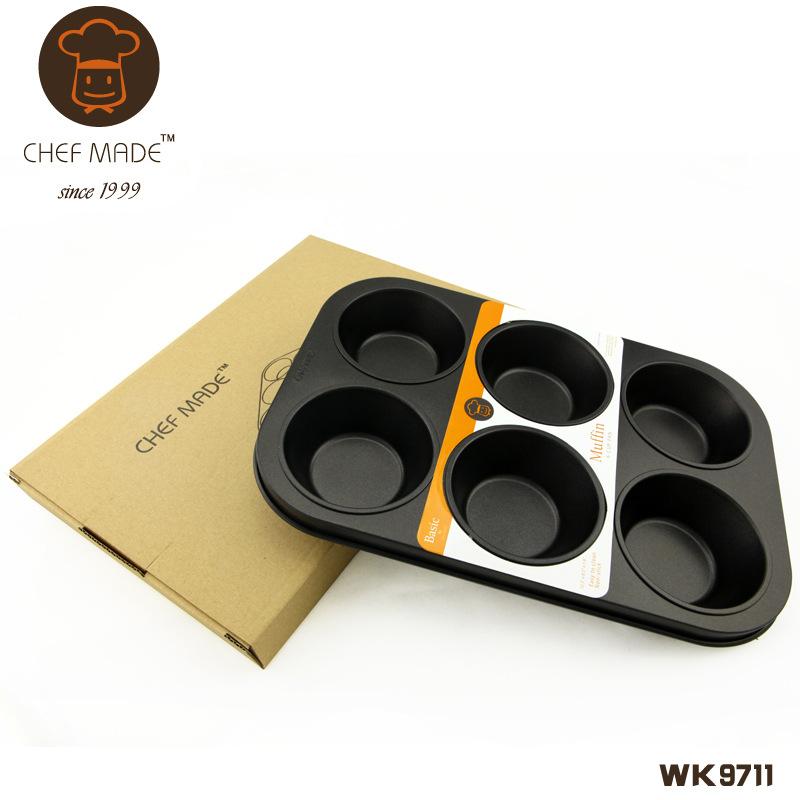 Chef Made แม่พิมพ์ มัฟฟิน คัพเค้ก ถาดหลุมเทปลอน 6 หลุม