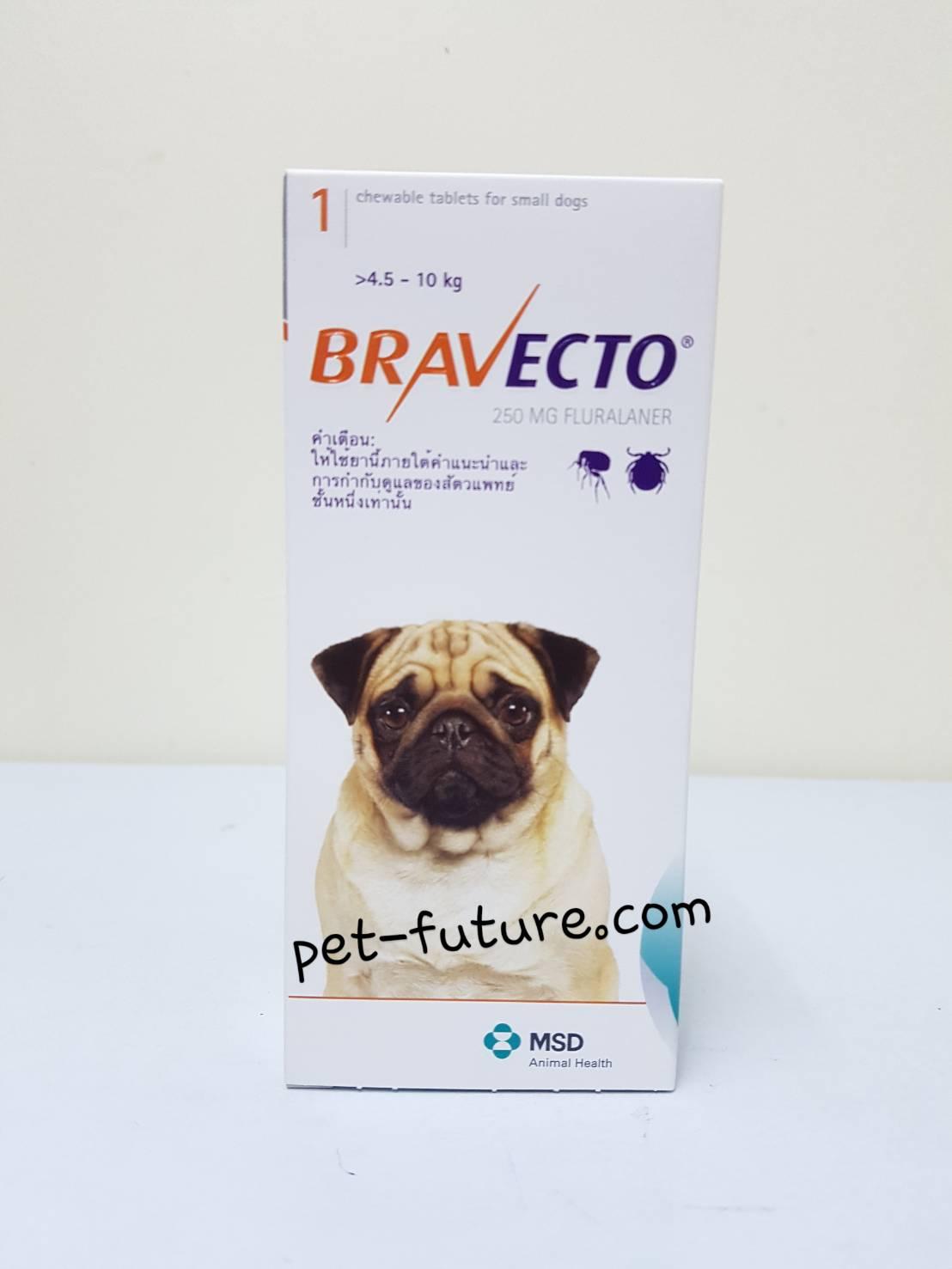 Bravecto น้ำหนัก 4.5-10 kg. (250 mg.) Chewable tablets Exp.02/19