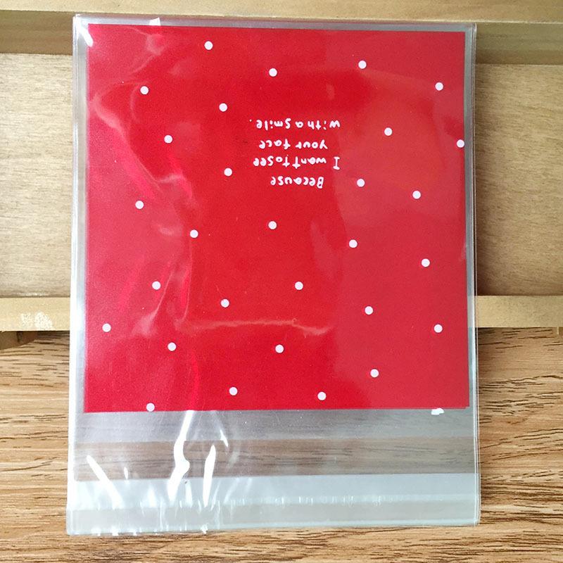 ถุงเบเกอรี่ ถุงขนมปัง แบบมีเทปกาว สีแดง 100 ใบ/ห่อ (10*10+3 cm.)